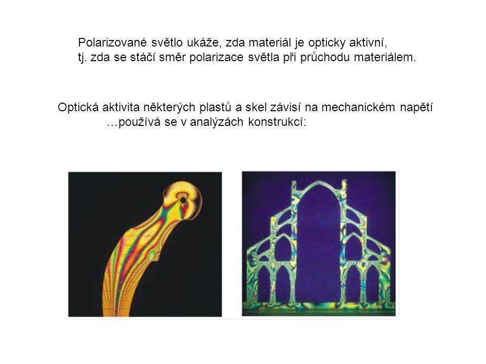 Polarizované světlo ukáže, zda materiál je opticky aktivní,