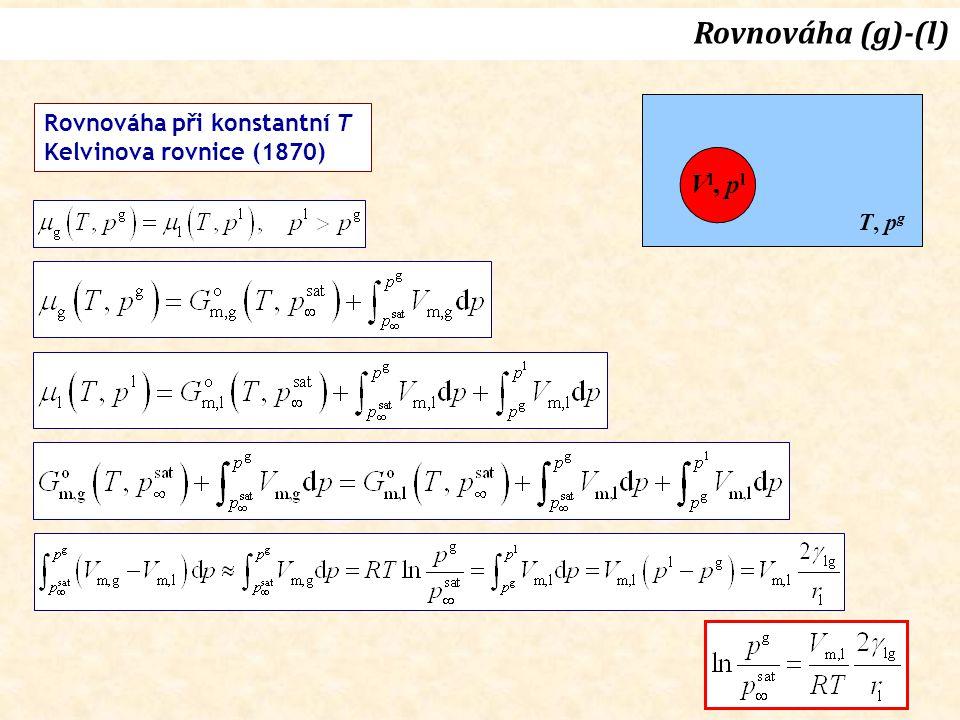 Rovnováha (g)-(l) Vl, pl Rovnováha při konstantní T