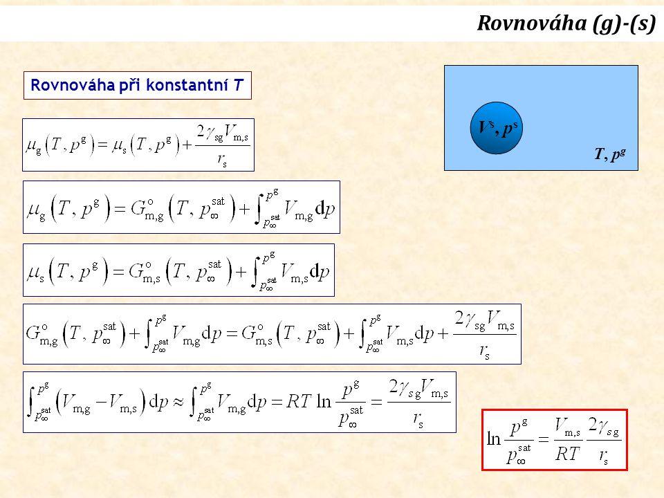 Rovnováha (g)-(s) Vs, ps T, pg Rovnováha při konstantní T