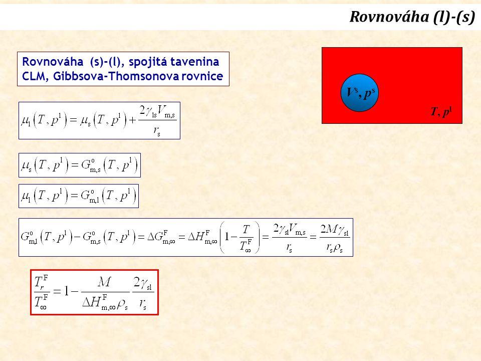 Rovnováha (l)-(s) Vs, ps Rovnováha (s)-(l), spojitá tavenina