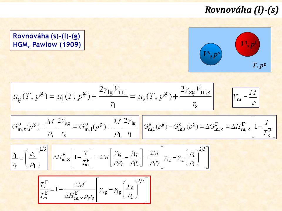 Rovnováha (l)-(s) Vl, pl Vs, ps Rovnováha (s)-(l)-(g)