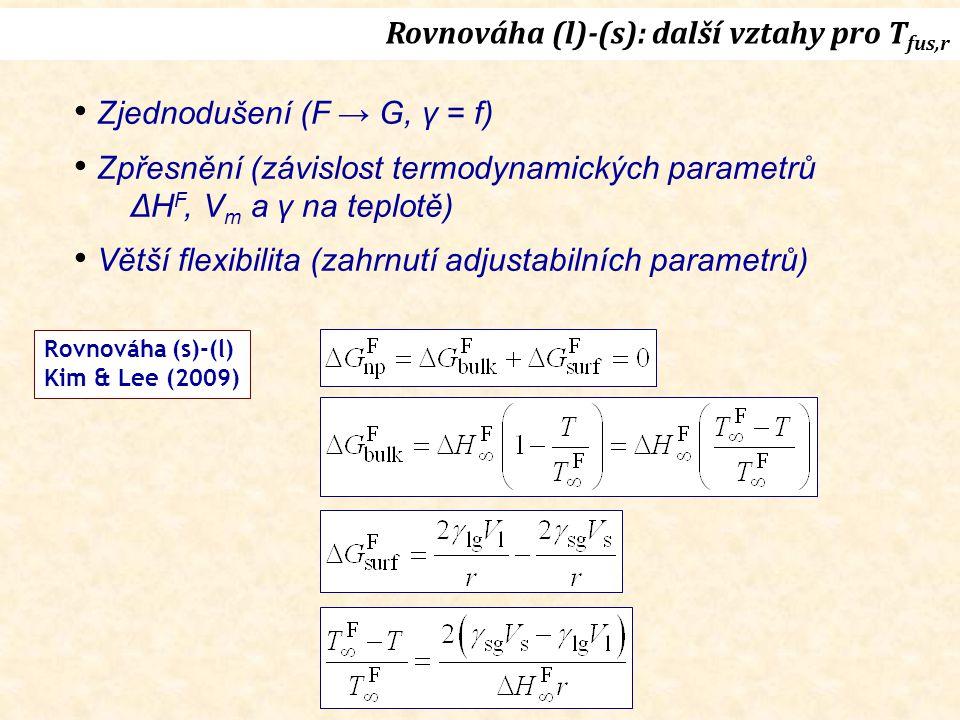 Rovnováha (l)-(s): další vztahy pro Tfus,r