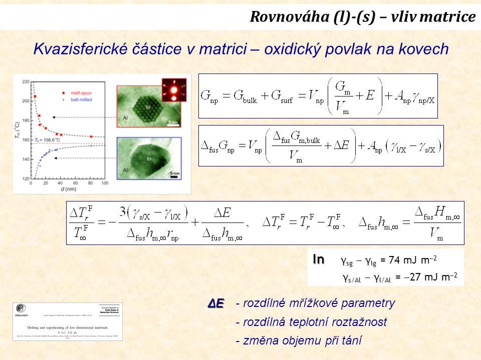 Rovnováha (l)-(s) – vliv matrice
