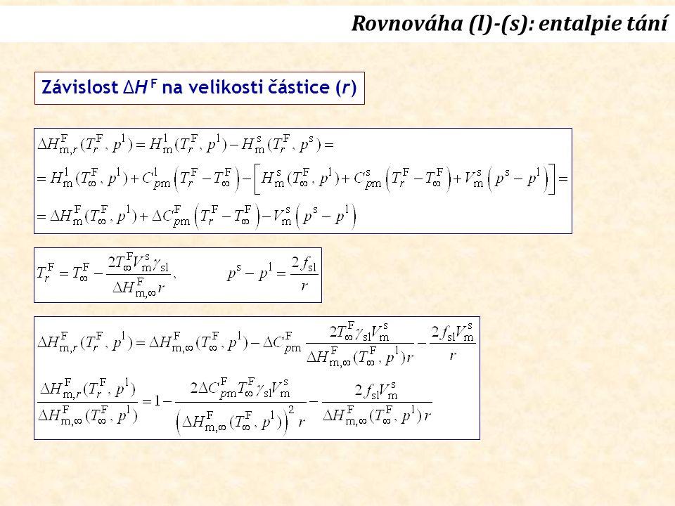 Rovnováha (l)-(s): entalpie tání