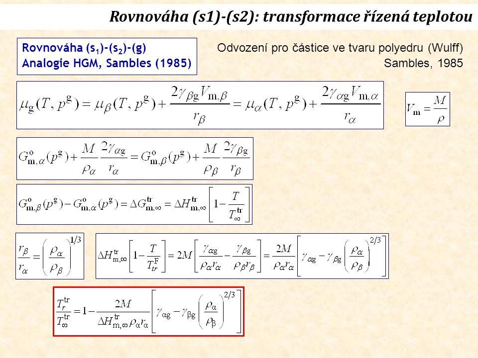 Rovnováha (s1)-(s2): transformace řízená teplotou