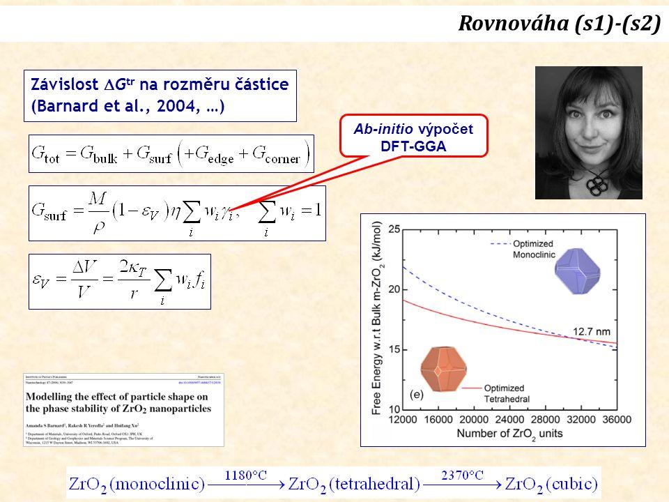 Rovnováha (s1)-(s2) Závislost Gtr na rozměru částice