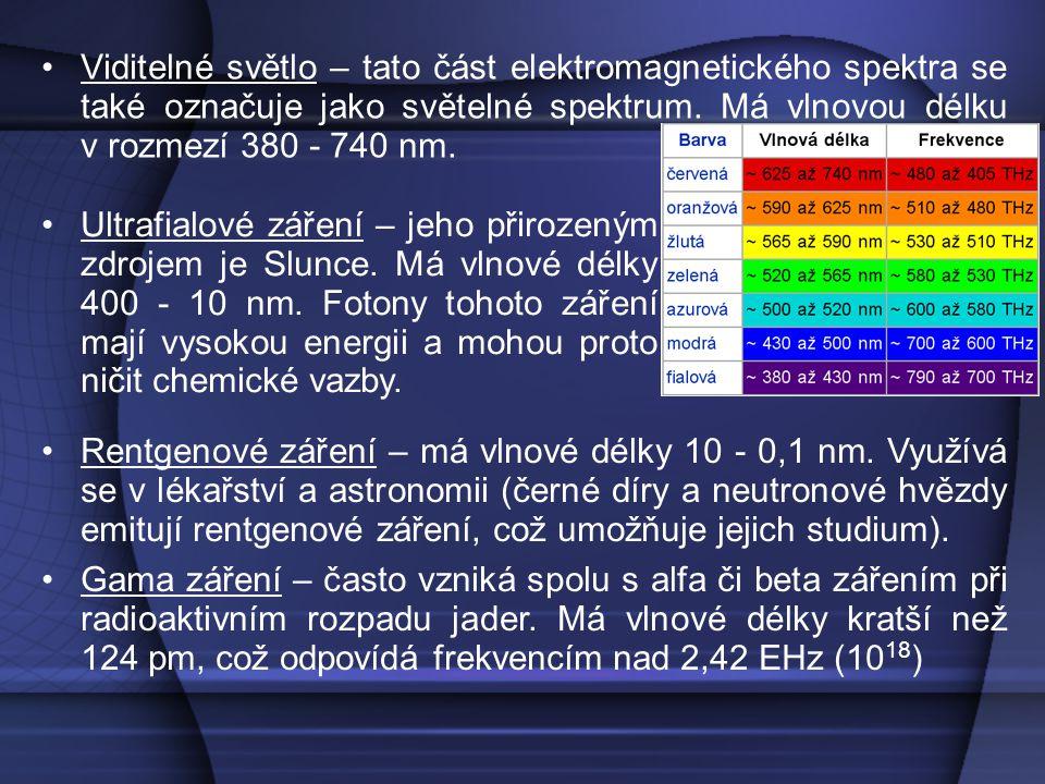Viditelné světlo – tato část elektromagnetického spektra se také označuje jako světelné spektrum. Má vlnovou délku v rozmezí 380 - 740 nm.