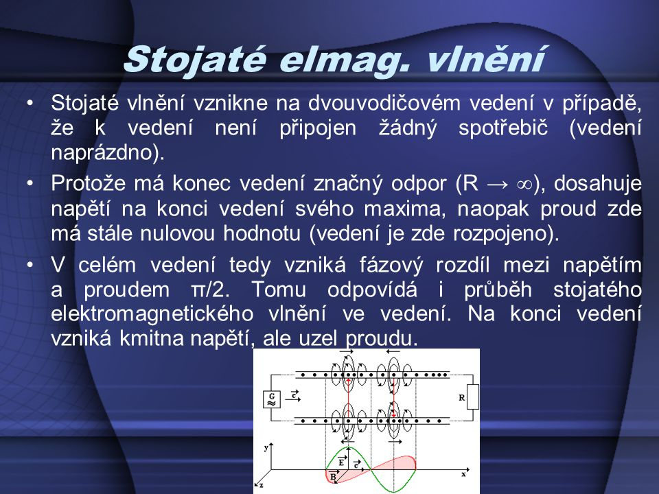Stojaté elmag. vlnění Stojaté vlnění vznikne na dvouvodičovém vedení v případě, že k vedení není připojen žádný spotřebič (vedení naprázdno).