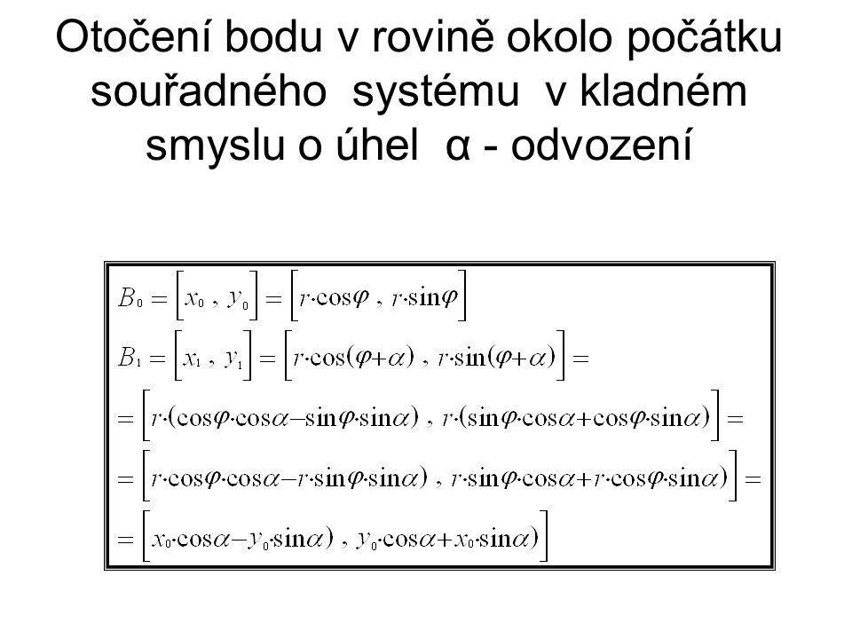 Otočení bodu v rovině okolo počátku souřadného systému v kladném smyslu o úhel α - odvození