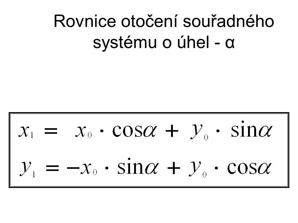 Rovnice otočení souřadného systému o úhel - α