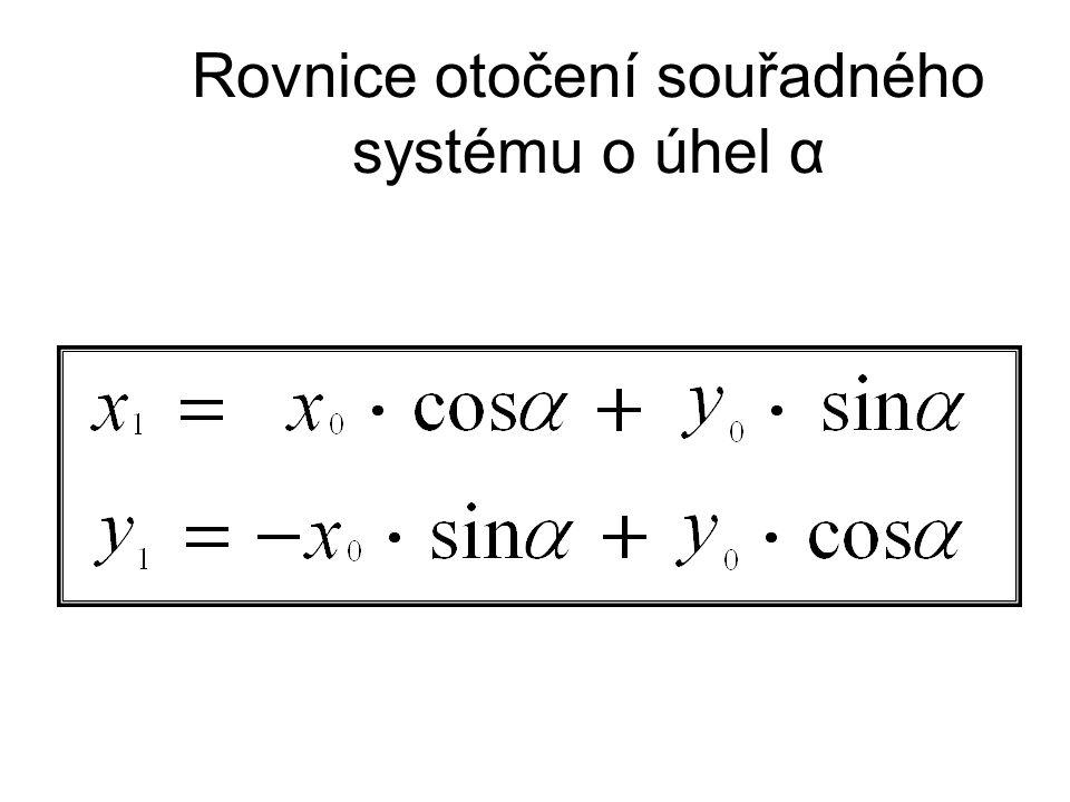 Rovnice otočení souřadného systému o úhel α