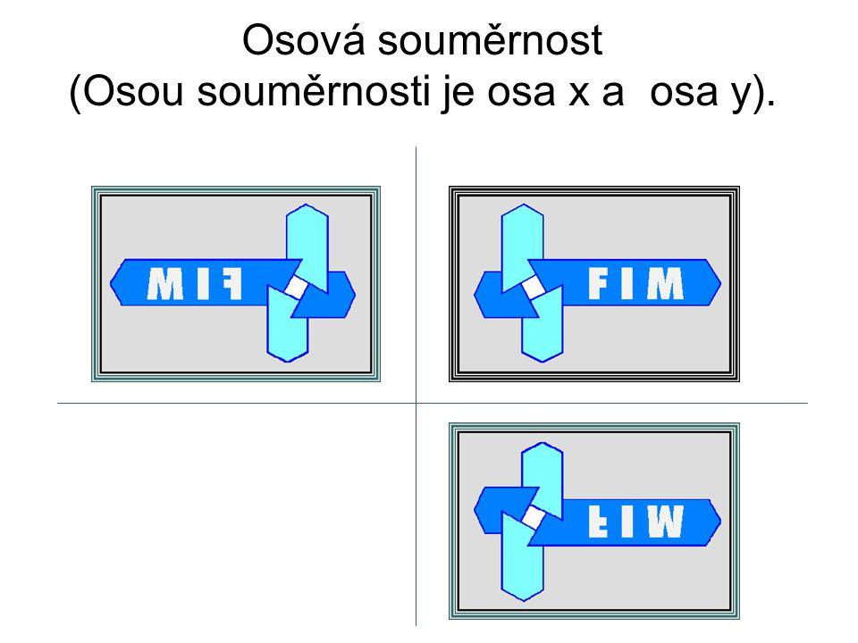Osová souměrnost (Osou souměrnosti je osa x a osa y).