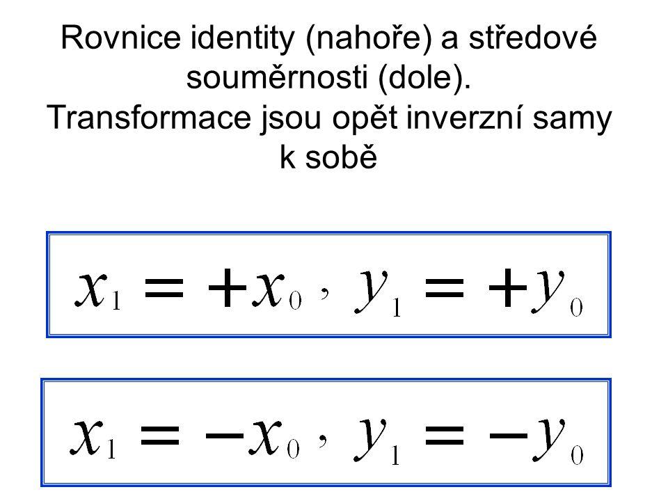 Rovnice identity (nahoře) a středové souměrnosti (dole)