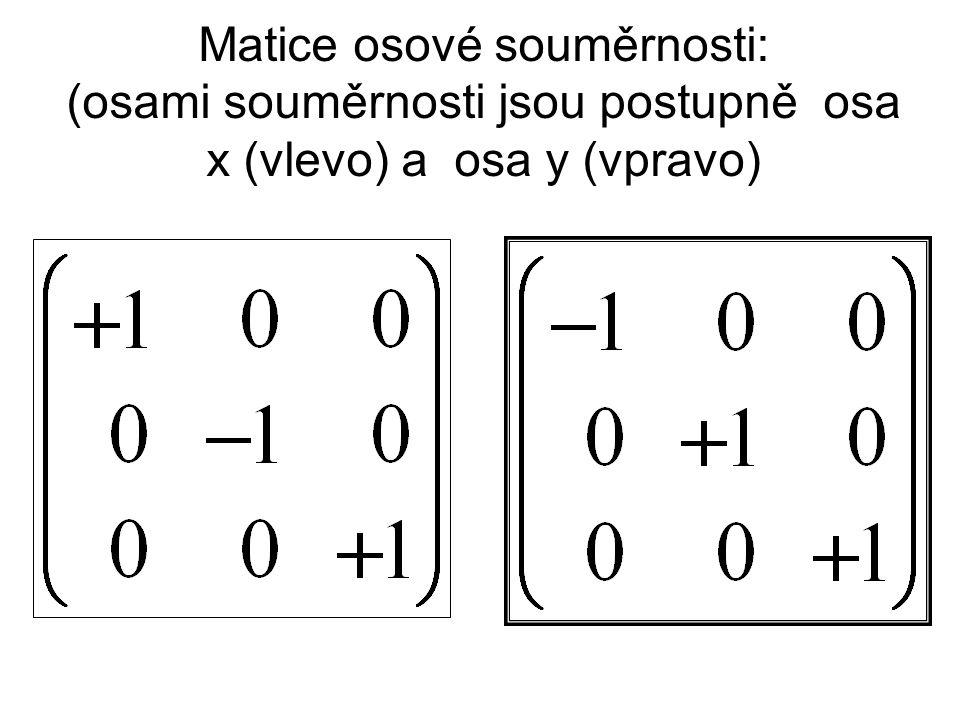 Matice osové souměrnosti: (osami souměrnosti jsou postupně osa x (vlevo) a osa y (vpravo)