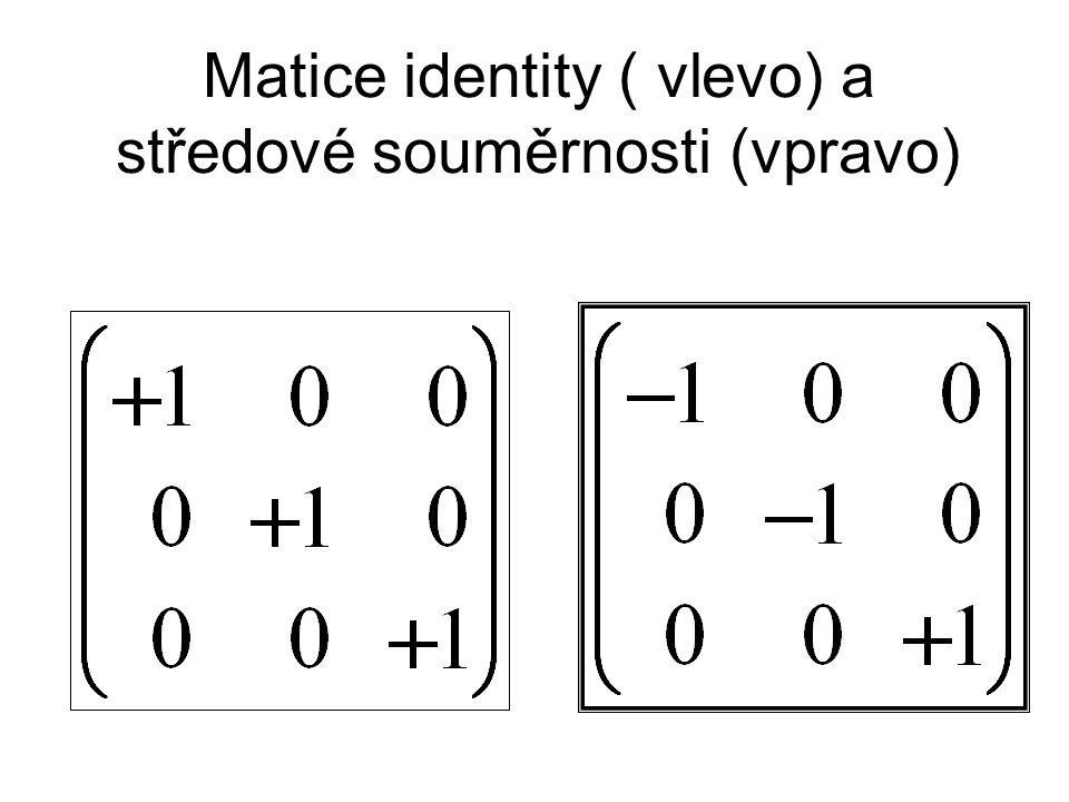 Matice identity ( vlevo) a středové souměrnosti (vpravo)