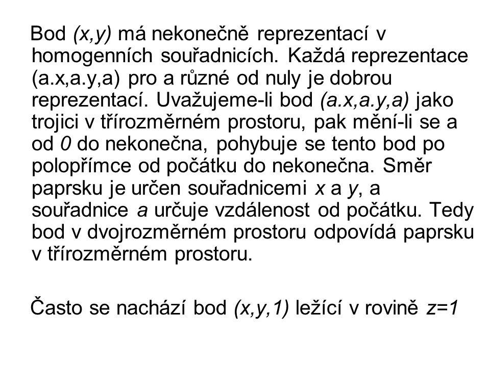 Bod (x,y) má nekonečně reprezentací v homogenních souřadnicích