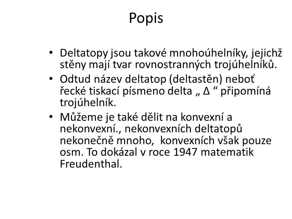 Popis Deltatopy jsou takové mnohoúhelníky, jejichž stěny mají tvar rovnostranných trojúhelníků.