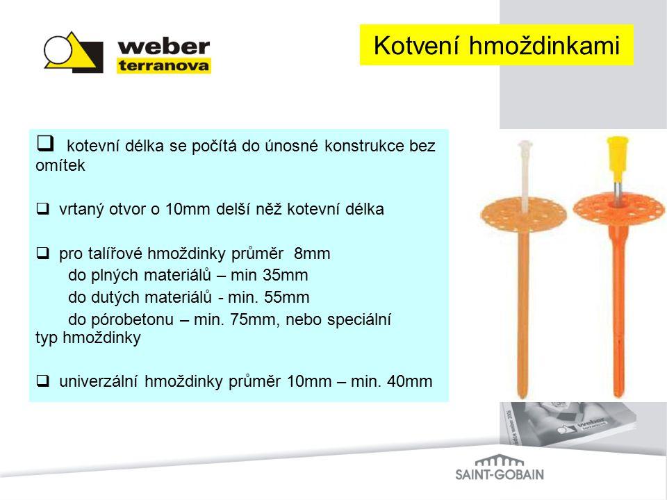 Kotvení hmoždinkami kotevní délka se počítá do únosné konstrukce bez omítek. vrtaný otvor o 10mm delší něž kotevní délka.