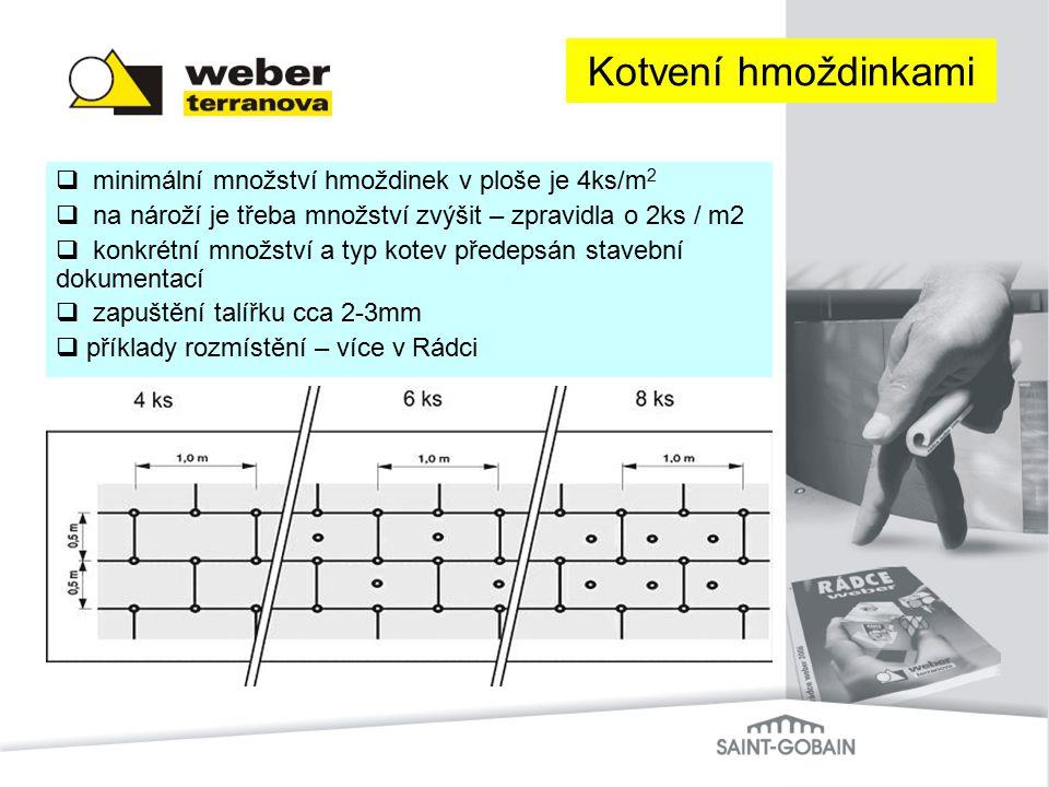 Kotvení hmoždinkami minimální množství hmoždinek v ploše je 4ks/m2