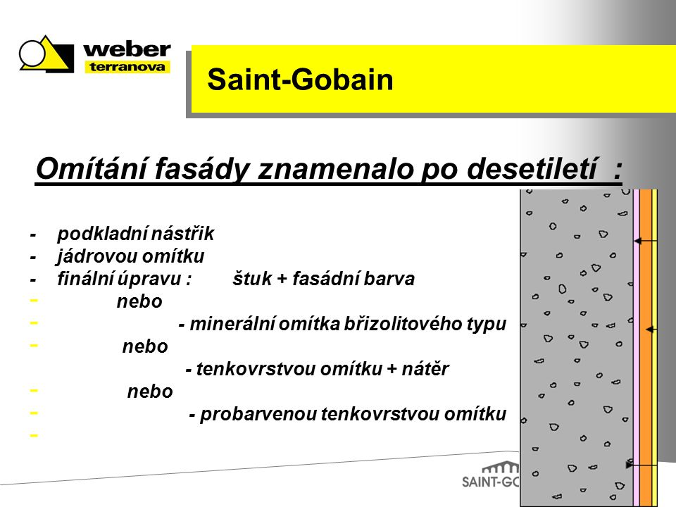 Saint-Gobain - podkladní nástřik - jádrovou omítku