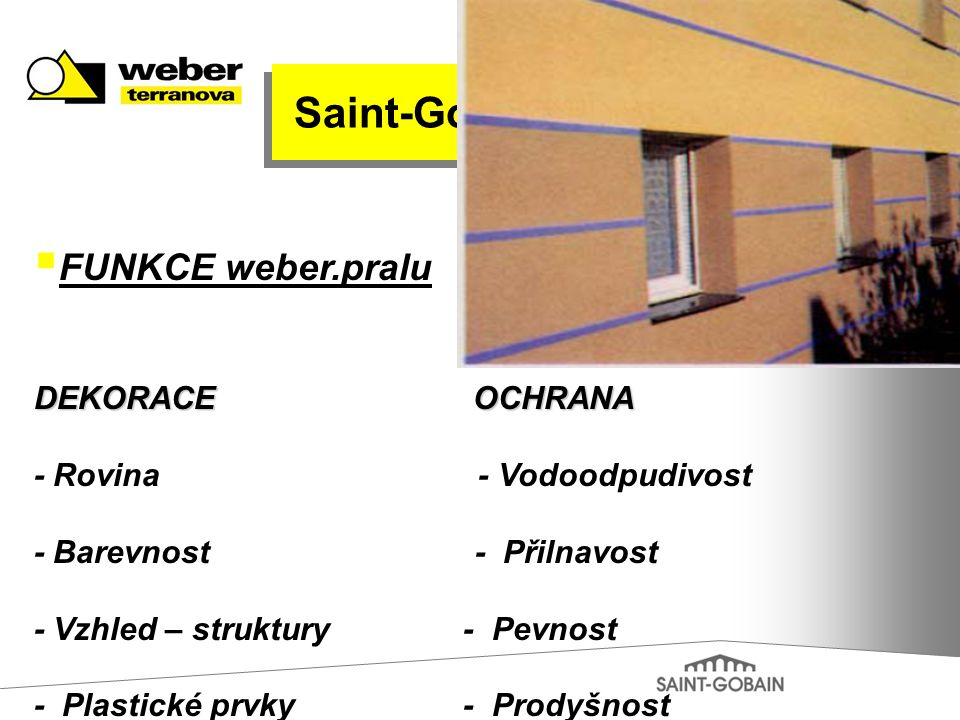 Saint-Gobain FUNKCE weber.pralu DEKORACE OCHRANA