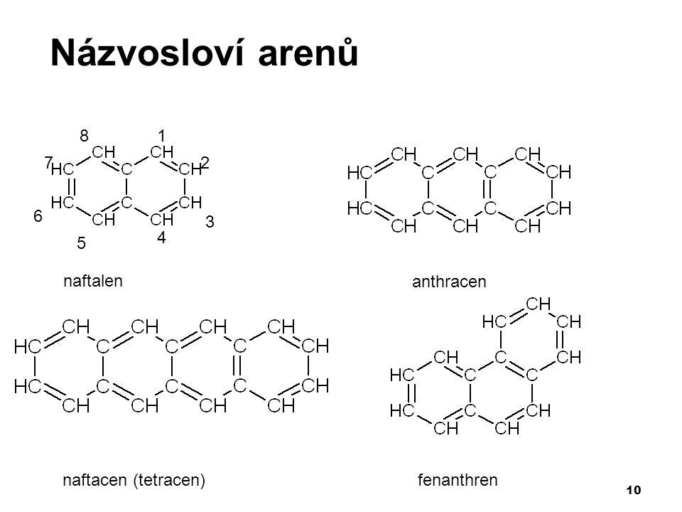 Názvosloví arenů 1 2 3 4 5 6 7 8 naftalen anthracen