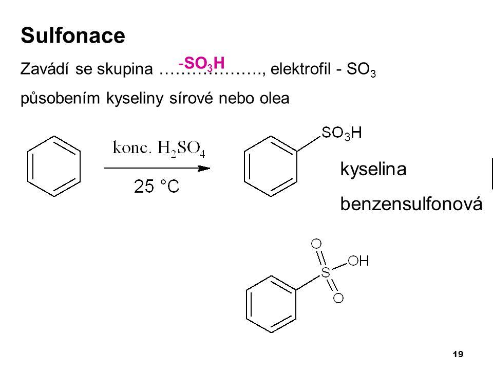 Sulfonace kyselina benzensulfonová