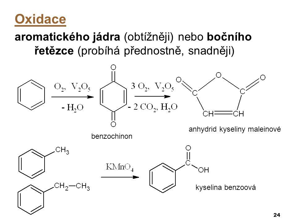 Oxidace aromatického jádra (obtížněji) nebo bočního řetězce (probíhá přednostně, snadněji) anhydrid kyseliny maleinové.