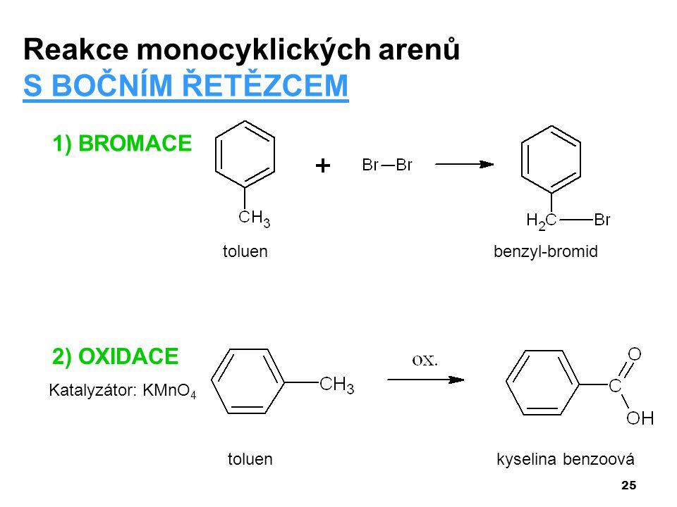 Reakce monocyklických arenů S BOČNÍM ŘETĚZCEM