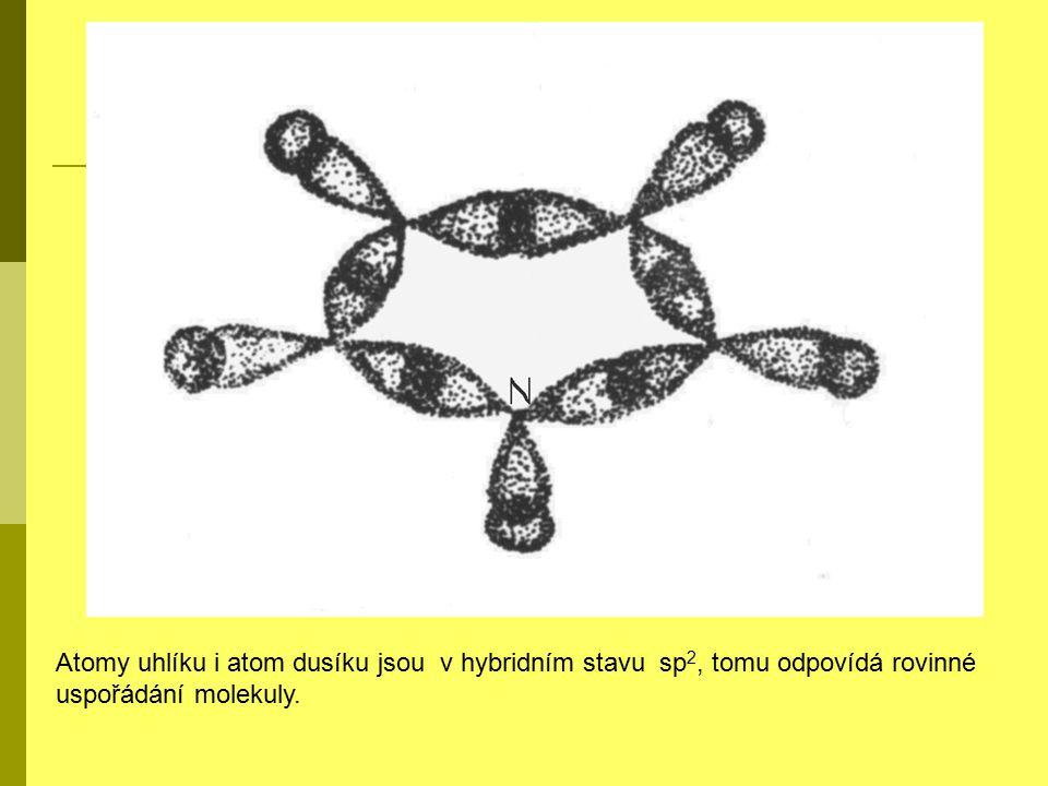 Atomy uhlíku i atom dusíku jsou v hybridním stavu sp2, tomu odpovídá rovinné uspořádání molekuly.