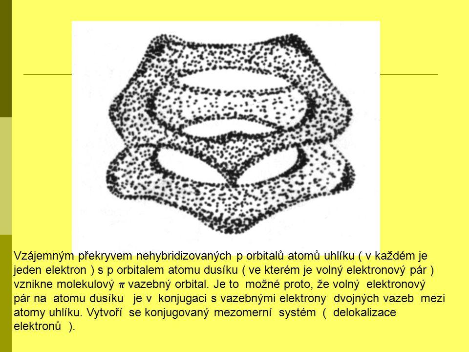 Vzájemným překryvem nehybridizovaných p orbitalů atomů uhlíku ( v každém je jeden elektron ) s p orbitalem atomu dusíku ( ve kterém je volný elektronový pár ) vznikne molekulový  vazebný orbital.