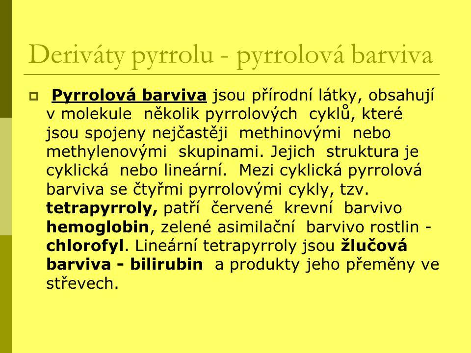 Deriváty pyrrolu - pyrrolová barviva