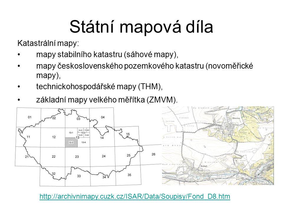 Státní mapová díla Katastrální mapy: