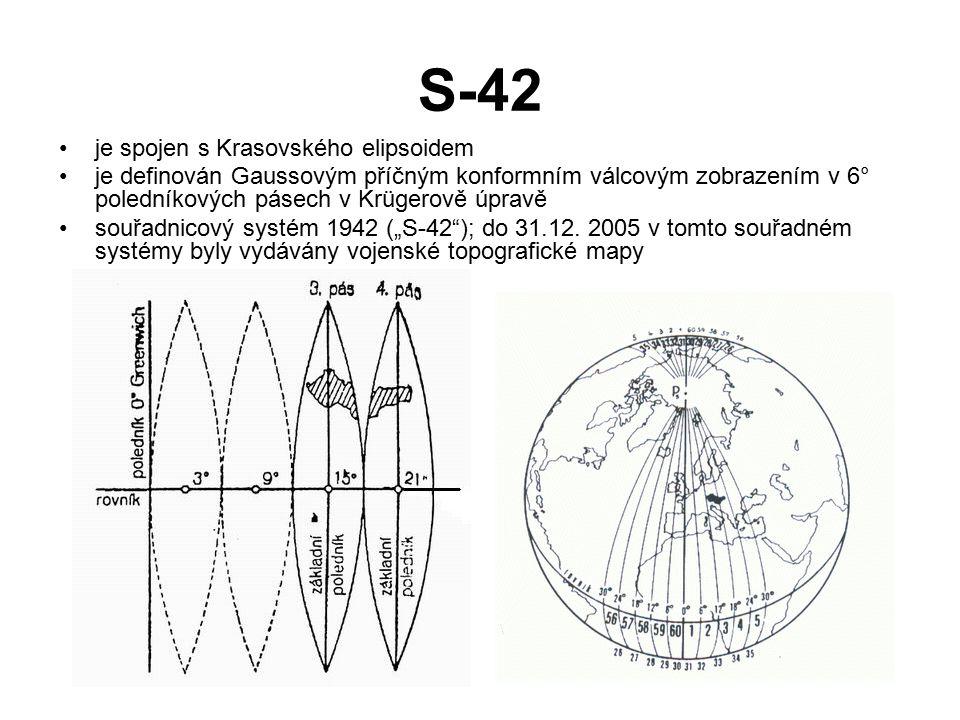 S-42 je spojen s Krasovského elipsoidem