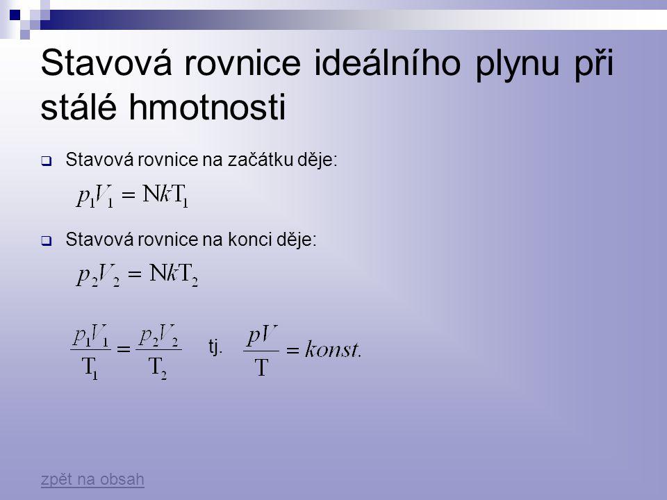 Stavová rovnice ideálního plynu při stálé hmotnosti