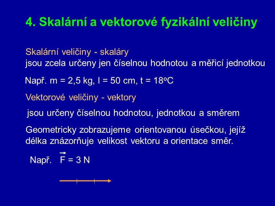 4. Skalární a vektorové fyzikální veličiny