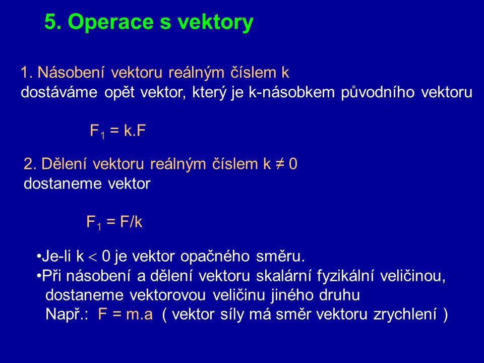 5. Operace s vektory 1. Násobení vektoru reálným číslem k