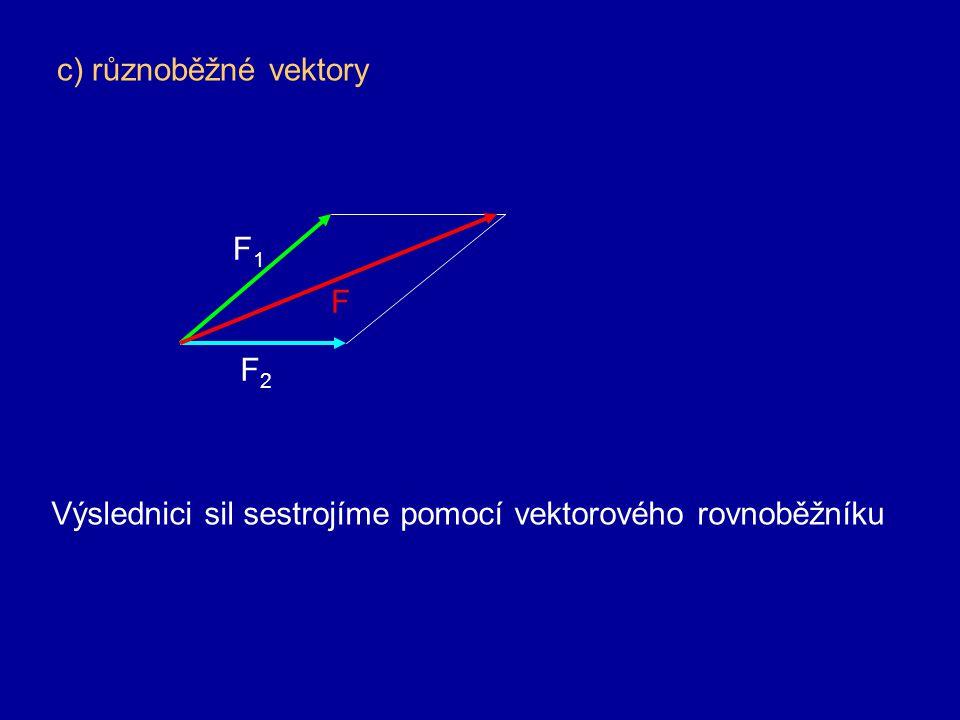 c) různoběžné vektory F1 F F2 Výslednici sil sestrojíme pomocí vektorového rovnoběžníku