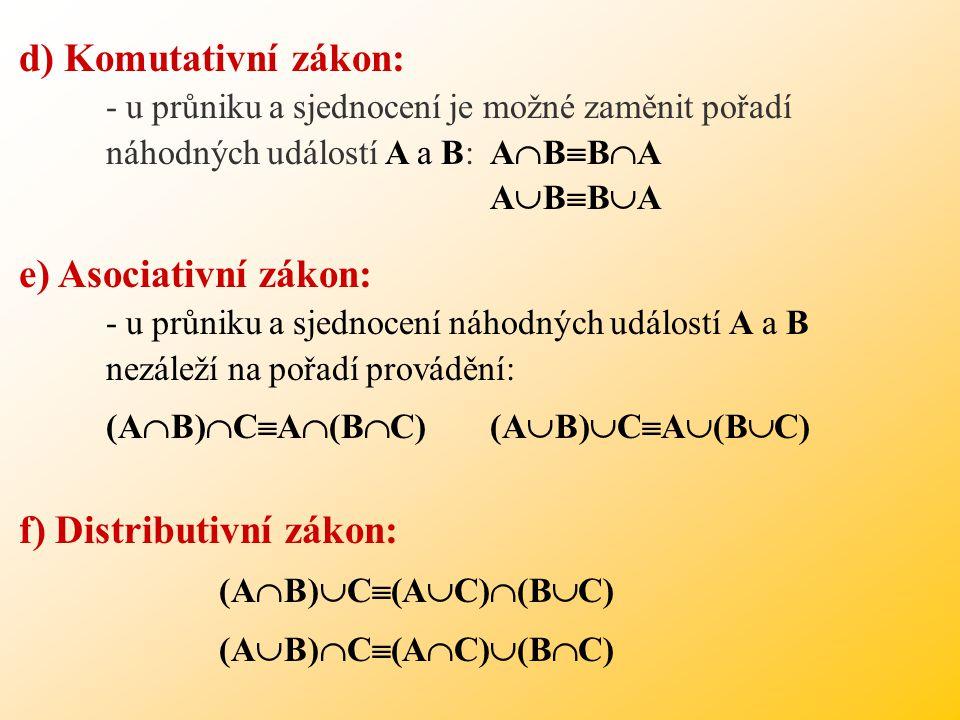 d) Komutativní zákon: - u průniku a sjednocení je možné zaměnit pořadí. náhodných událostí A a B: ABBA.