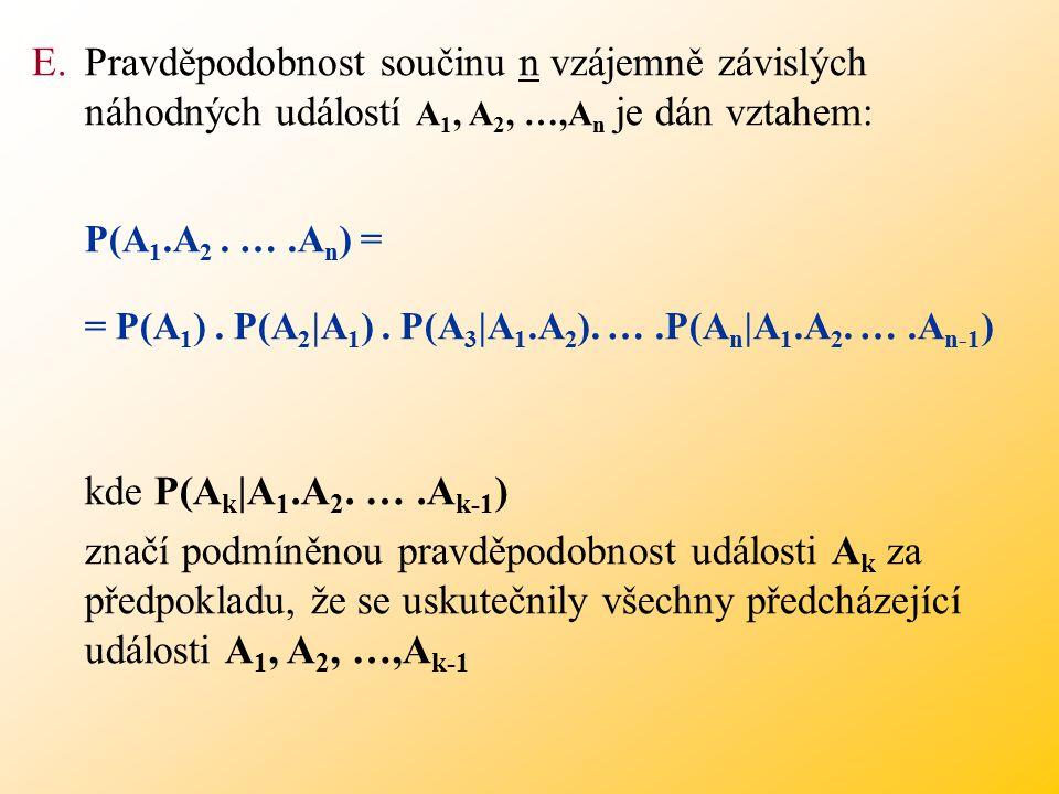 Pravděpodobnost součinu n vzájemně závislých náhodných událostí A1, A2, …,An je dán vztahem: