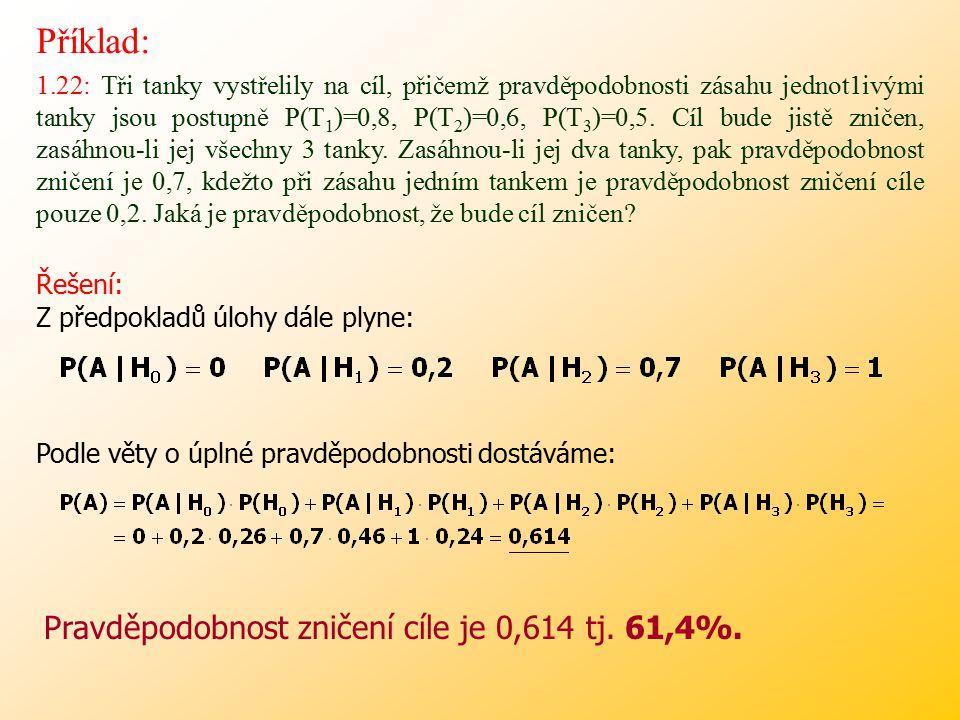 Příklad: Pravděpodobnost zničení cíle je 0,614 tj. 61,4%.