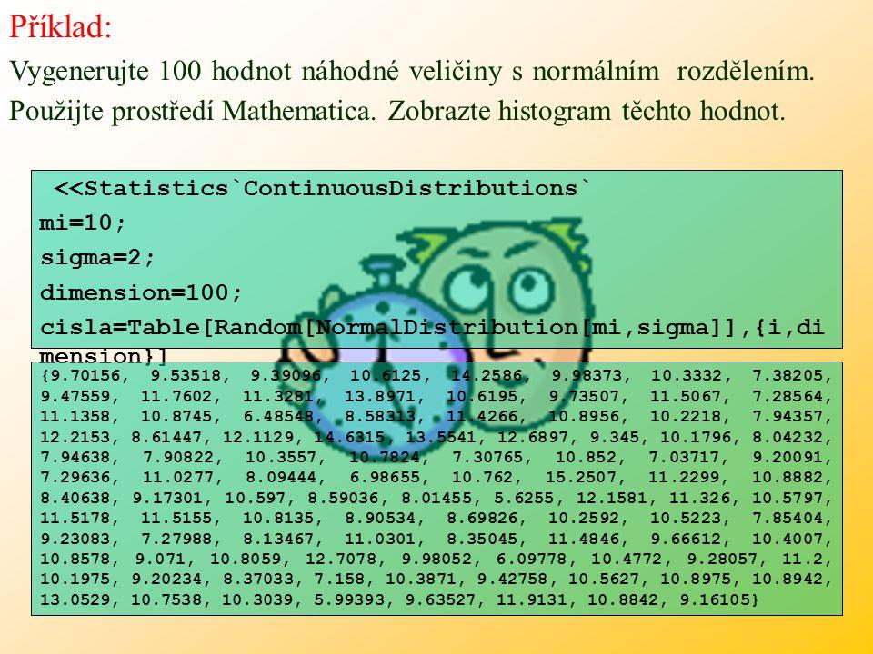 Příklad: Vygenerujte 100 hodnot náhodné veličiny s normálním rozdělením. Použijte prostředí Mathematica. Zobrazte histogram těchto hodnot.