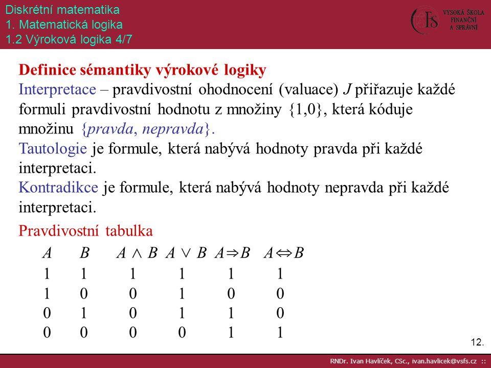 Definice sémantiky výrokové logiky