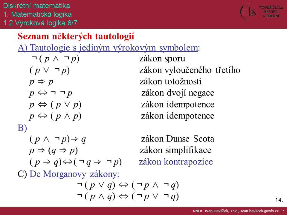 Seznam některých tautologií