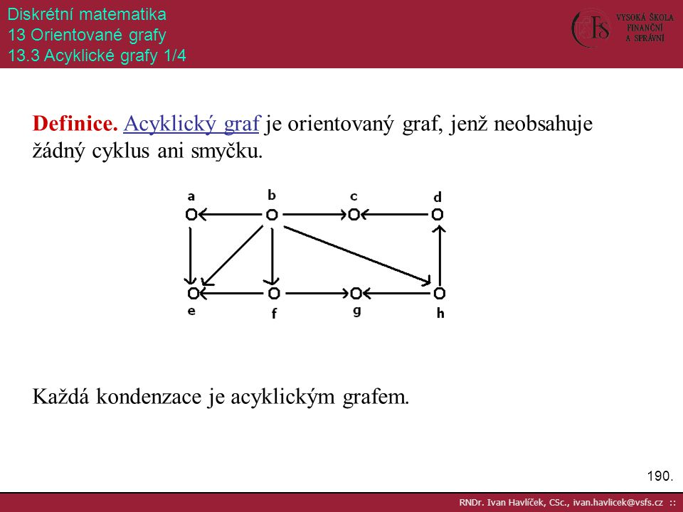 Každá kondenzace je acyklickým grafem.