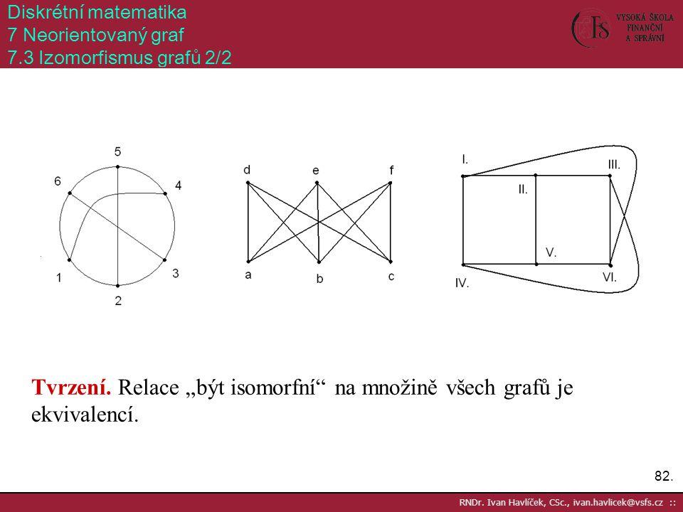 """Tvrzení. Relace """"být isomorfní na množině všech grafů je ekvivalencí."""
