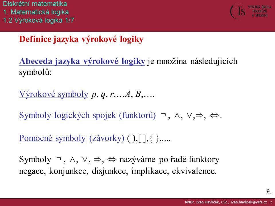 Definice jazyka výrokové logiky