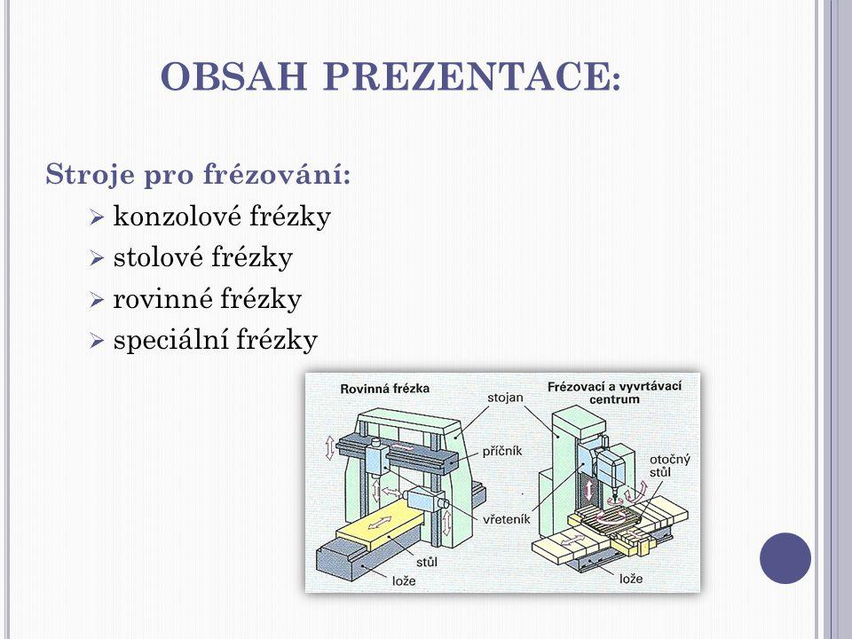 obsah prezentace: Stroje pro frézování: konzolové frézky
