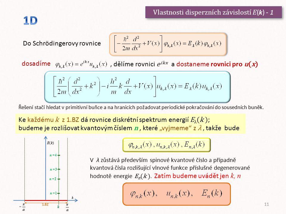 Vlastnosti disperzních závislostí E(k) - 1