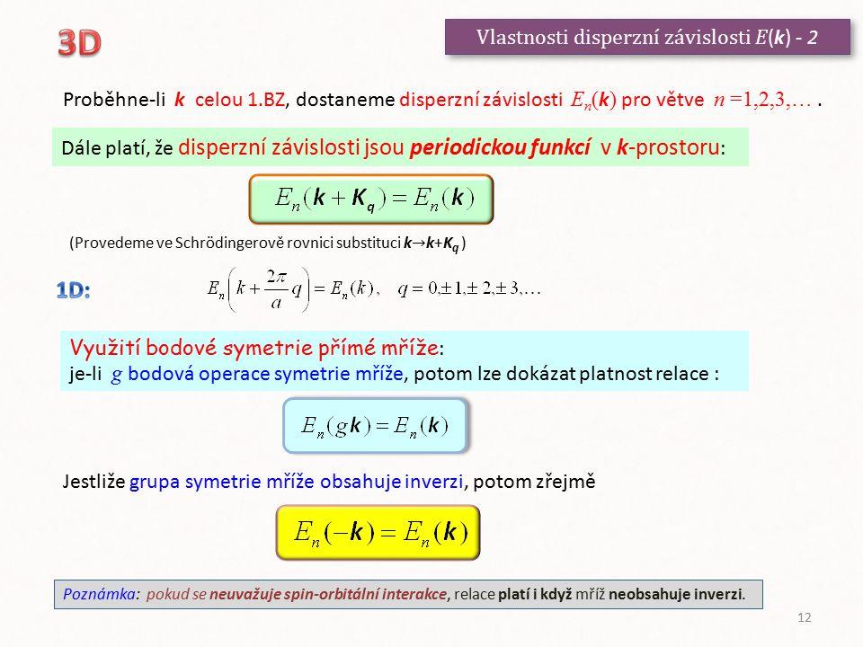 Vlastnosti disperzní závislosti E(k) - 2